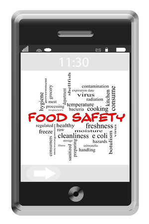 Food Safety Word Cloud Concept of Touchscreen Phone with great terms such as kitchen, preparation, e coli and more.