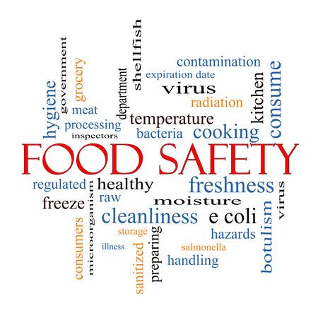 Food Safety Palabra Nube Concepto con los términos, como los peligros, e coli, cocinar y mucho más.