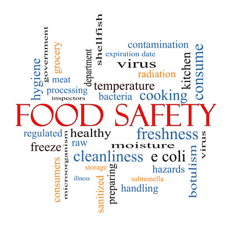Food Safety Word Cloud Concept with great terms such as hazards, e coli, cooking and more. Stock Photo