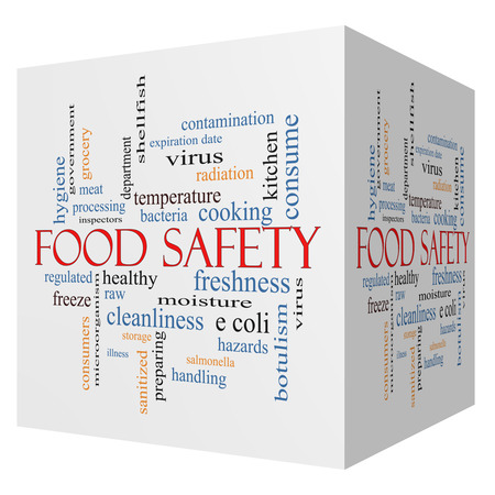 Food Safety 3D cube Word Cloud Concept with great terms such as hazards, e coli, cooking and more.