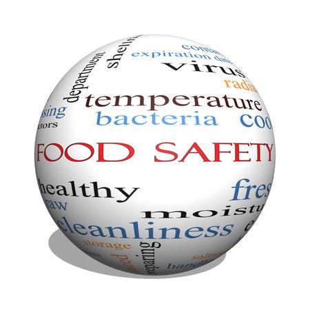 Food Safety 3D esfera Palabra Nube Concepto con los términos, como los peligros, e coli, cocinar y mucho más.