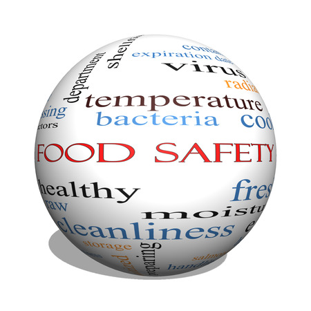 Food Safety 3D sphere Word Cloud Concept with great terms such as hazards, e coli, cooking and more. Archivio Fotografico