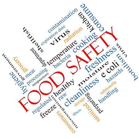Food Safety Word Cloud Concept angled with great terms such as hazards, e coli, cooking and more. Stock Photo