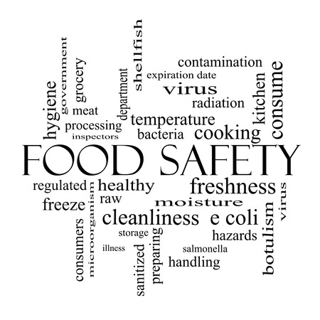 Food Safety Word Cloud Concept in black and white with great terms such as hazards, e coli, cooking and more. Stock Photo