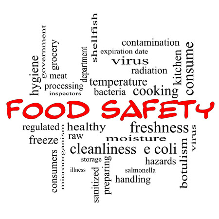 Food Safety Word Cloud Concept in red caps with great terms such as hazards, e coli, cooking and more. Stock Photo