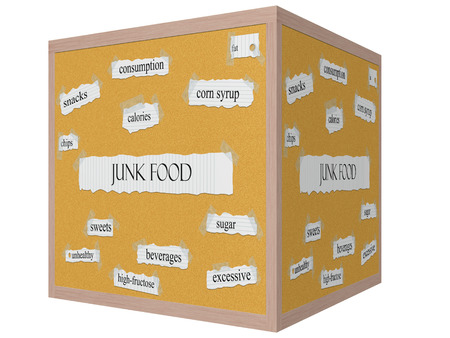 Junk Food 3D cube Corkboard Word Concept with great terms such as chips, calories, sugar and more. Stock Photo