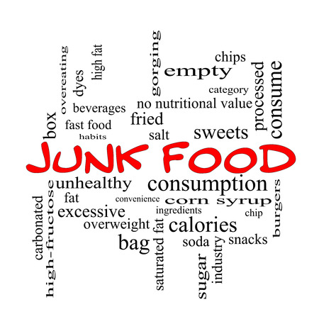 fructose: Junk Food Word Cloud Concept in red caps with great terms such as chip, snacks, calories and more.