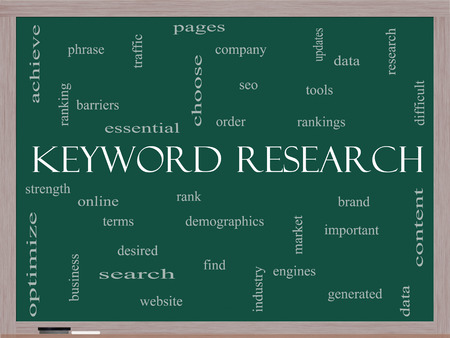 rankings: Keyword Research Word Cloud Concept on a Blackboard with great terms such as rankings, order, phrase and more. Stock Photo