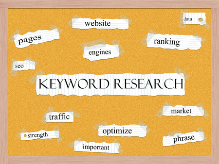 Keyword Research Corkboard Word Concept with great terms such as ranking, data, website and more. Stock Photo - 26665602