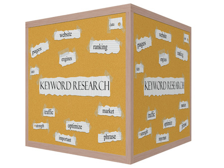 keyword: Keyword Research 3D cube Corkboard Word Concept with great terms such as ranking, data, website and more.