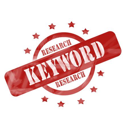 Ein roter Tinte verwittert up Kreis aufgeraut und Sterne Stempel Entwurf mit den Wörtern Keyword-Recherche auf sie macht eine große Konzept. Standard-Bild - 26665606