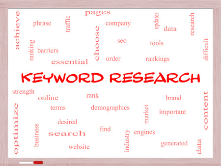 Keyword Research Word Cloud Concept on a Whiteboard with great terms such as rankings, order, phrase and more. Stock Photo - 26665609
