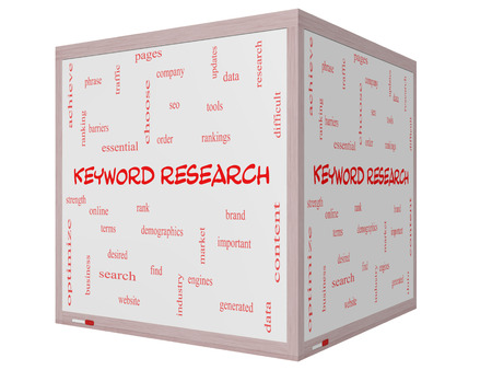 keyword: Keyword Research Word Cloud Concept on a 3D cube Whiteboard with great terms such as rankings, order, phrase and more. Stock Photo