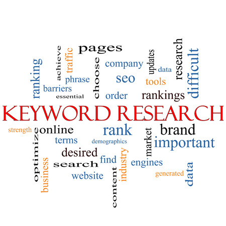 Keyword Research Word Cloud Concept with great terms such as rankings, order, phrase and more. photo