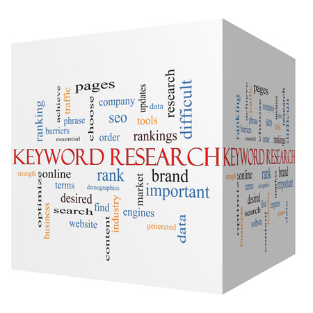 Keyword Research 3D cube Word Cloud Concept with great terms such as rankings, order, phrase and more. Imagens