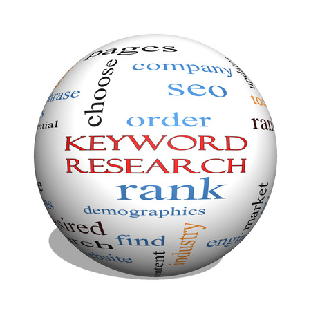 keyword: Keyword Research 3D sphere Word Cloud Concept with great terms such as rankings, order, phrase and more. Stock Photo