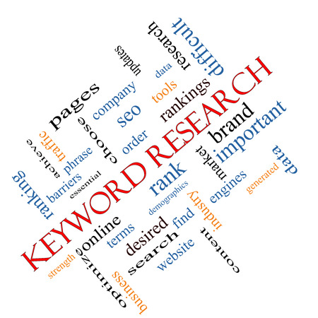 Keyword Research Word Cloud Concept angled with great terms such as rankings, order, phrase and more. Stock Photo - 26665616