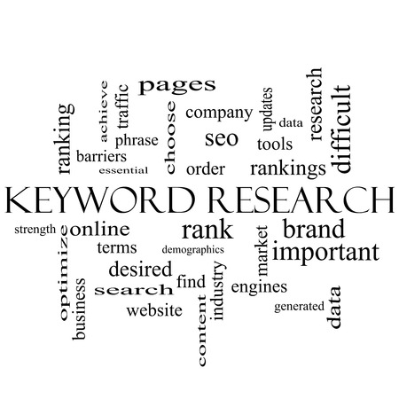keyword: Keyword Research Word Cloud Concept in black and white with great terms such as rankings, order, phrase and more. Stock Photo