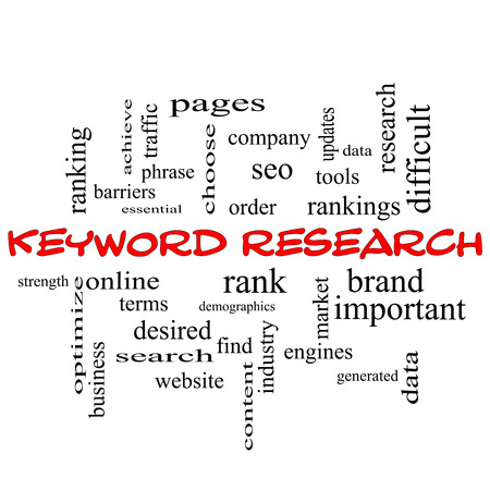 keyword: Keyword Research Word Cloud Concept in red caps with great terms such as rankings, order, phrase and more.