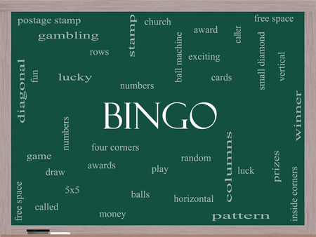 maching: Bingo Word Cloud Concept on a Blackboard with great terms such as numbers, balls, prizes and more.