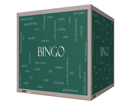 maching: Bingo Word Cloud Concept on a 3D cube Blackboard with great terms such as numbers, balls, prizes and more.