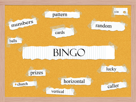 Bingo Corkboard Word Concept with great terms such as pattern, cards, balls and more. Stock Photo