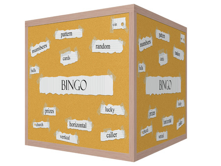 Bingo 3D cube Corkboard Word Concept with great terms such as pattern, cards, balls and more.