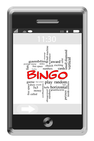 maching: Bingo Word Cloud Concept of Touchscreen Phone with great terms such as numbers, balls, prizes and more. Stock Photo