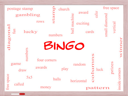 maching: Bingo Word Cloud Concept on a Whiteboard with great terms such as numbers, balls, prizes and more.