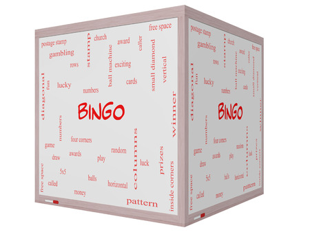 maching: Bingo Word Cloud Concept on a 3D cube Whiteboard with great terms such as numbers, balls, prizes and more.