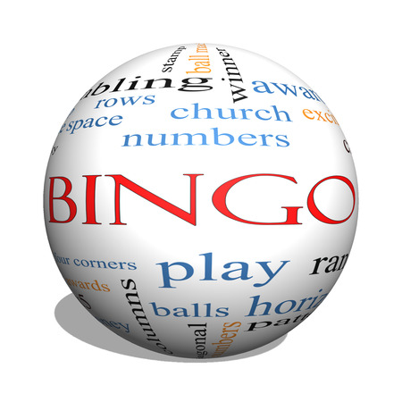 Bingo 3D sphere Word Cloud Concept with great terms such as numbers, balls, prizes and more. photo