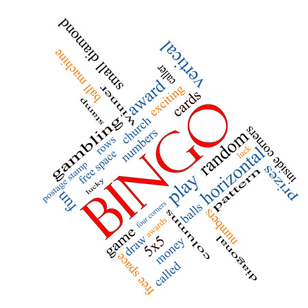 maching: Bingo Word Cloud Concept angled with great terms such as numbers, balls, prizes and more. Stock Photo