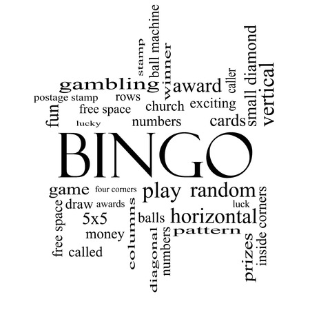 Bingo Word Cloud Concept in black and white with great terms such as numbers, balls, prizes and more.