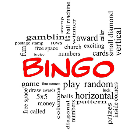 maching: Bingo Word Cloud Concept in Red Caps with great terms such as numbers, balls, prizes and more.