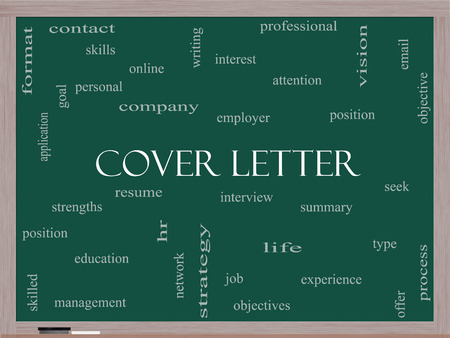 Cover Letter Word Cloud Concept on a Blackboard with great\ terms such as interview, resume, summary and more.