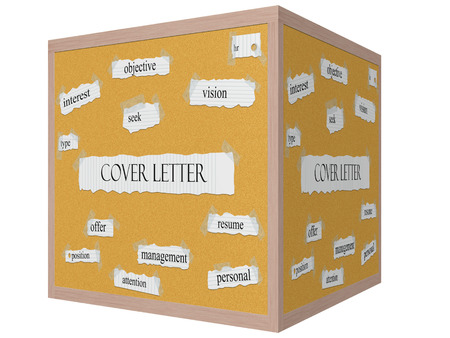 mangement: Cover Letter 3D cube Corkboard Word Concept with great terms such as hr, resume, attention and more.