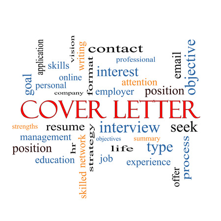 Cover Letter Word Cloud Concept with great terms such as interview, resume, summary and more. photo