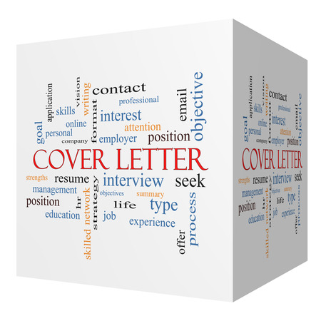 summary: Cover Letter 3D cube Word Cloud Concept with great terms such as interview, resume, summary and more. Stock Photo