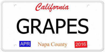 Een imitatie van Californië nummerplaat met het woord druiven en Napa County maken van een geweldig concept.