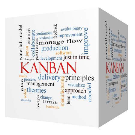 Kanban 3D cube Word Cloud Concept with great terms such as loops, process, manage, flow and more.