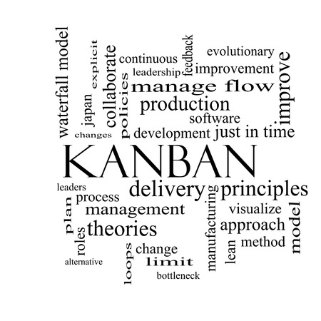 Kanban Word Cloud Concept in black and white with great terms such as loops, process, manage, flow and more.