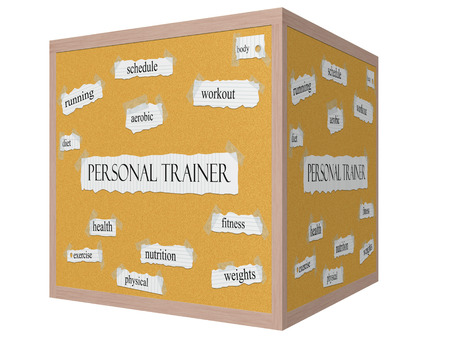 Personal Trainer 3D cube Corkboard Word Concept with great terms such as workout, running, diet and more.