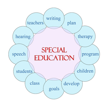 Special Education concept circular diagram in pink and blue with great terms such as writing, plan, therapy and more.