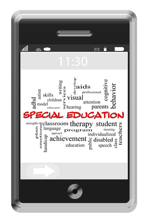Special Education Word Cloud Concept of Touchscreen Phone with great terms such as program, teachers, students and more. photo