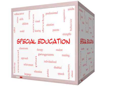 Special Education Word Cloud Concept on a 3D cube Whiteboard with great terms such as student, individualized, program and more.
