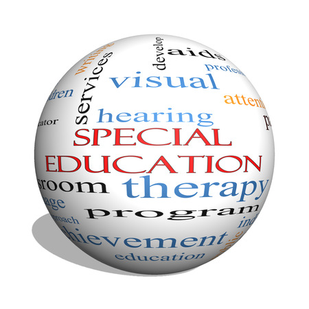 Special Education 3D sphere Word Cloud Concept with great terms such as student, individualized, program and more.