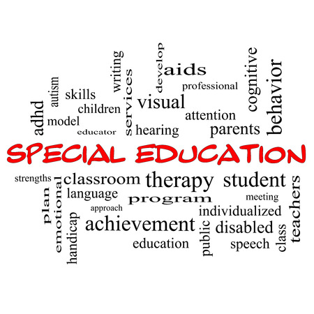 special service: Special Education Word Cloud Concept in red caps with great terms such as student, individualized, program and more.