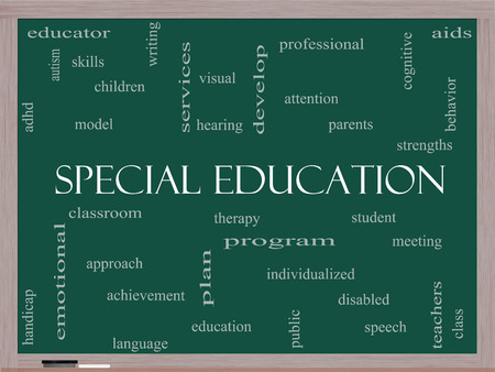 Special Education Word Cloud Concept on a Blackboard with great terms such as student, individualized, program and more. photo
