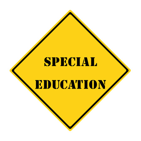 diamond shaped: A yellow and black diamond shaped road sign with the words SPECIAL EDUCATION making a great concept.