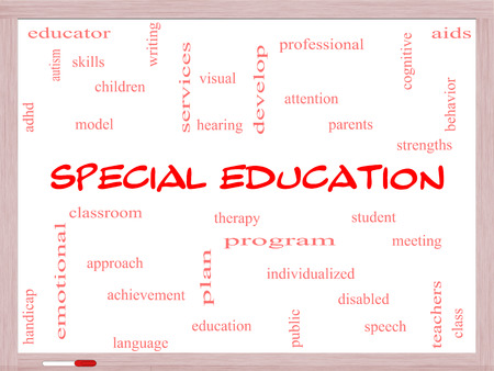 Special Education Word Cloud Concept on a Whiteboard with great terms such as student, individualized, program and more. photo